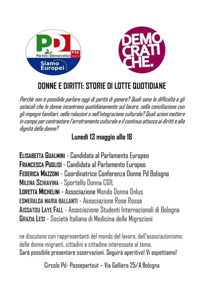 13 maggio Circolo Passepartout Bologna Elezioni Europee Francesca Puglisi