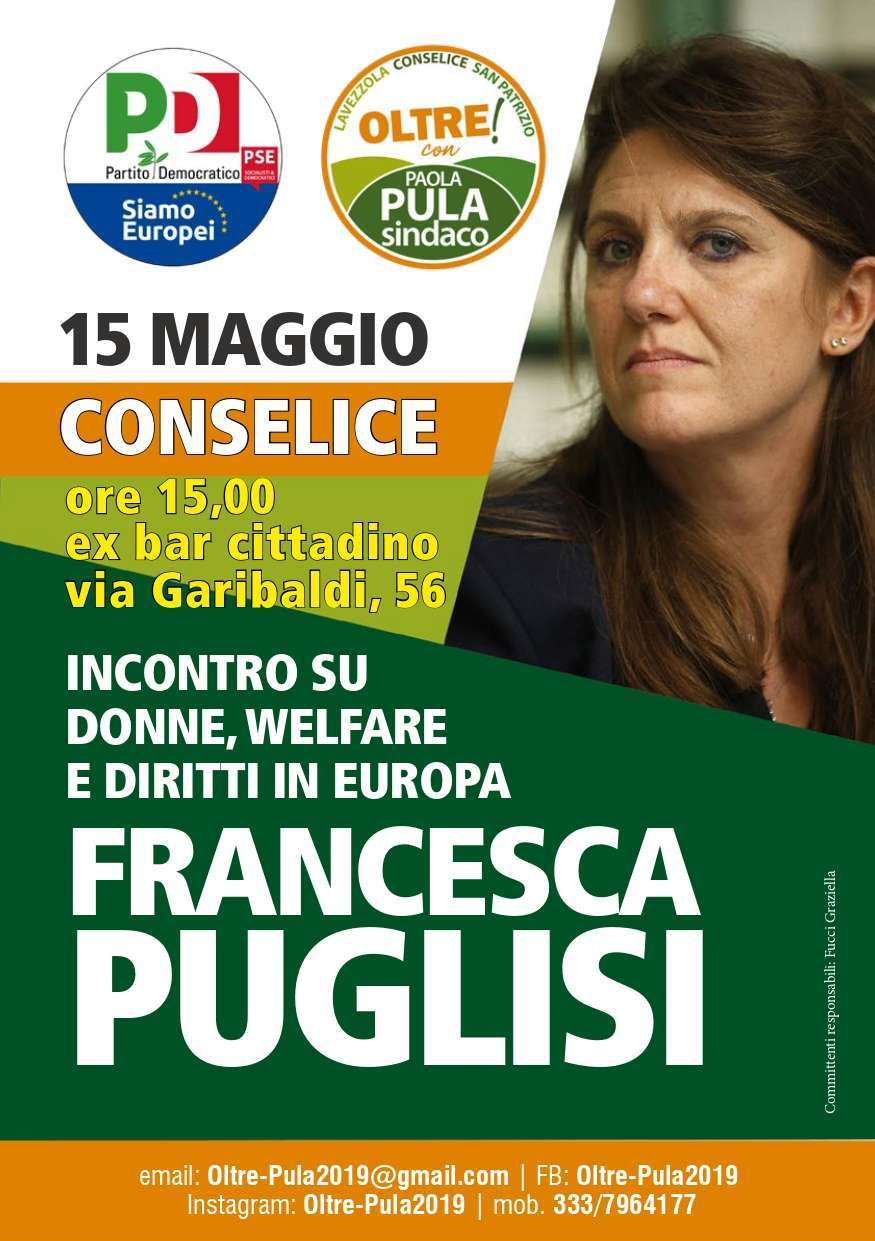 15 maggio Conselice Elezioni Europee Francesca Puglisi