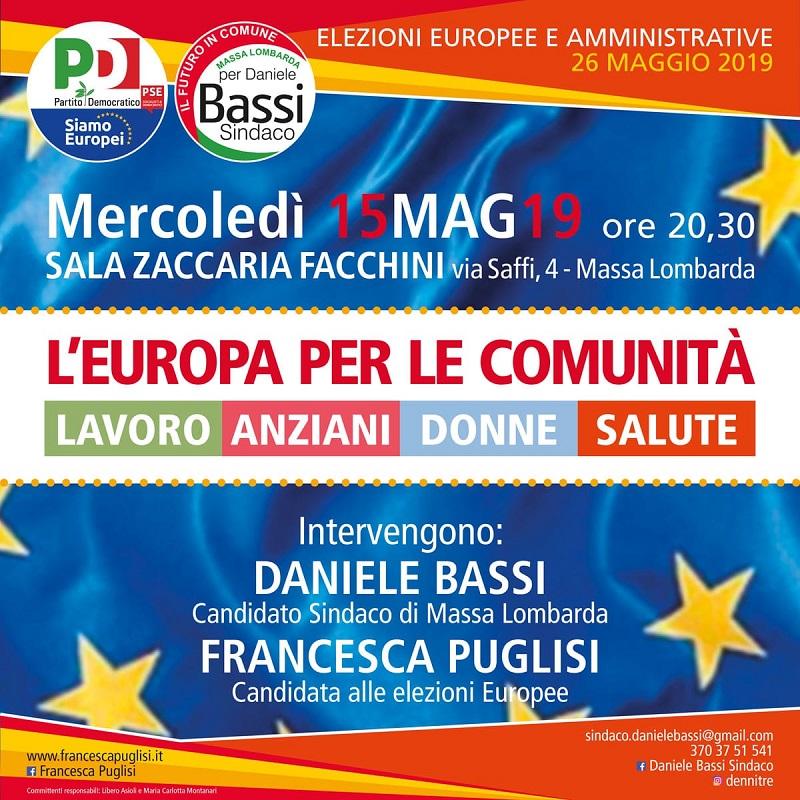 15 maggio Massa Lombarda Elezioni Europee Francesca Puglisi