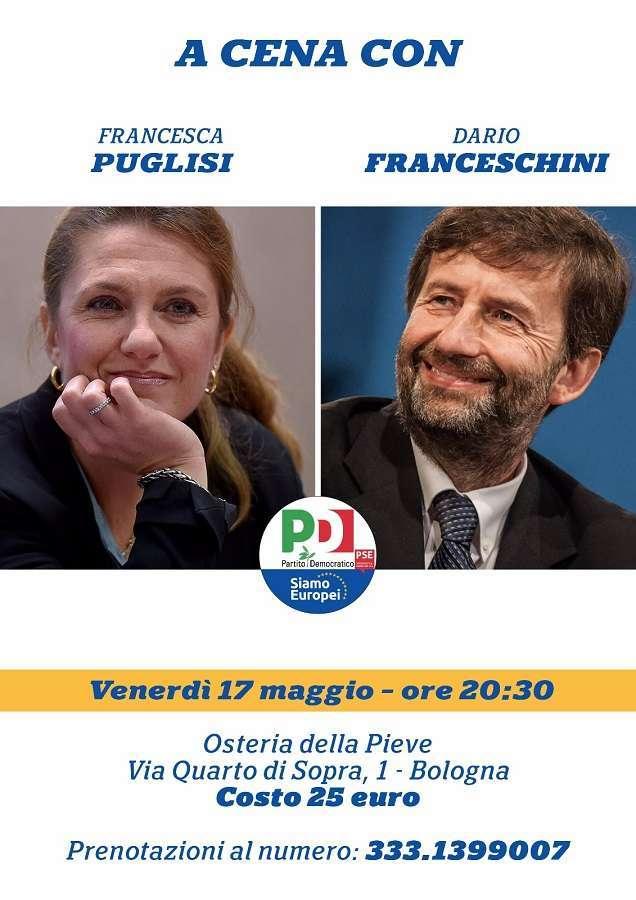 17 maggio Bologna Cena Franceschini Elezioni Europee Francesca Puglisi