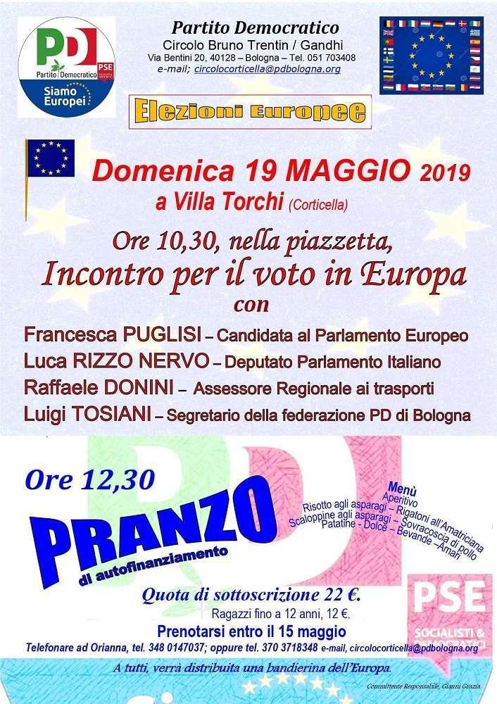 19 maggio Villa Torchi Corticella Pranzo Elezioni Europee Francesca Puglisi