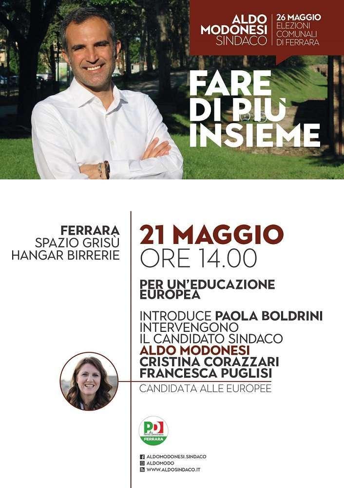 21 maggio Ferrara Elezioni Europee Puglisi