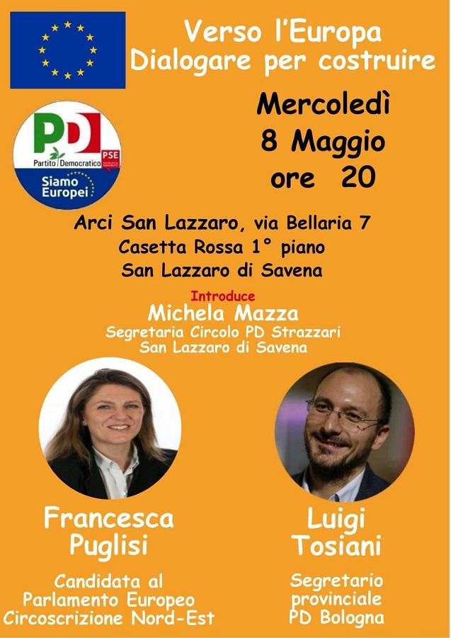 8 maggio San Lazzaro Elezioni Europee Francesca Puglisi