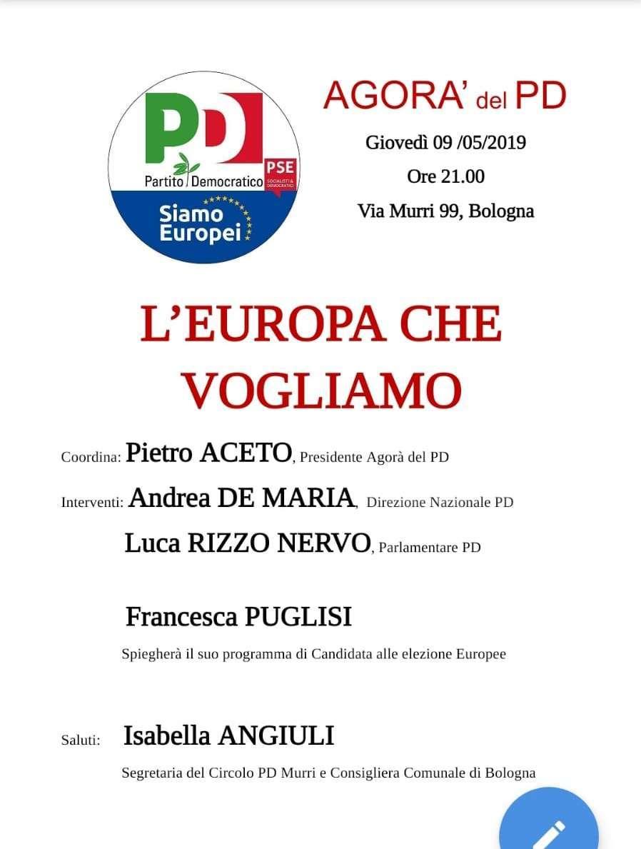9 maggio Bologna Pd Elezioni Europee Francesca Puglisi